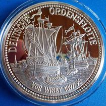 Alemanha-medalha Danzig-prata 999-veleiros-48 Grs.50 Mm