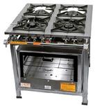 Fogão Industrial 4 Bocas+forno 2 Queimador Duplo E 2 Simples