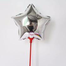 20 Balão Metalizado Estrela Prata 21cm Centro Mesa Festa Ar