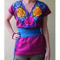 Blusa Artesanal De Chiapas Flores Bordadas En Varios Colores