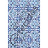 Tecido Jacquard Estampado Azulejo Portugal Azul 1m X 1,40m