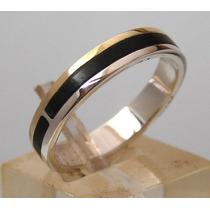Alianza-anillo De Casamiento Plata Ebano Oro 14 K, Oferta!!