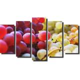 Quadros Decorativos Fruta Cachos Uvas 5 Peças