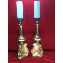 2 Lamparas Antiguas- De Mesa-bronce-tipo Candelero-vintage