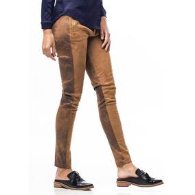 Pantalón Tipo Calza Marrón Gamuza Y Cuero Ecológico Giacca