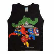 10 Camiseta Infantil Regata Blusa Machão Super Heróis Batman