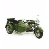 Motocicleta Sidecar Verde 28cm Estilo Retrô - Vintage