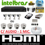 Kit Cftv 4 Cameras Infravermelho Dvr 4 Canais Intelbras + Hd
