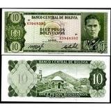 Bolívia 10 Pesos Bolivianos 1962 P. 154 Fe Cédula Tchequito