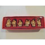 Miniatura Buda Resina Dourada Kit Com 6 Peças