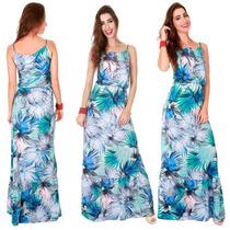 Vestido Estampado Azul Florido Casual Lançamento Promocao