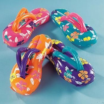 Paquete 3 Sandalias Inflables Adorno Fiesta Hawaiana $45.00