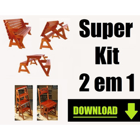 Projeto Kit Cadeira Vira Escada + Mesa Vira Banco Marcenaria