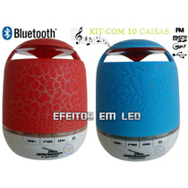 10 Mini Caixa De Som Radio Bluetooth Fm Usb Micro Sd Led