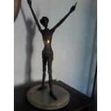 Antigua Hermosa Estatuilla Bronce Y Marmol Don Quijote