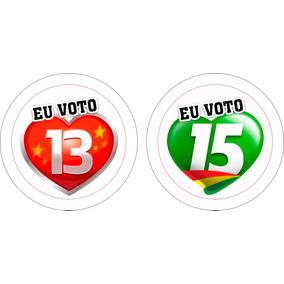 Botons Personalizado Eu Voto 15 E Eu Voto 13, 4,5cm 20und.