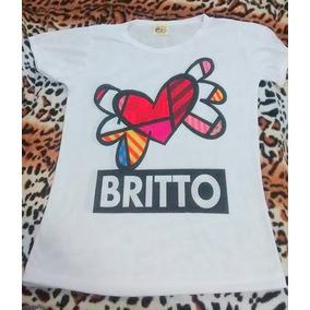 Camiseta Baby Look Romero Britto 25,00