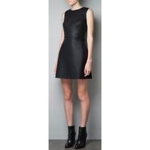 Zara Vestido Simil Cuero Negro