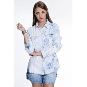 Camisa Jeans Feminina Marca Equus Azul Desbotado Excelente