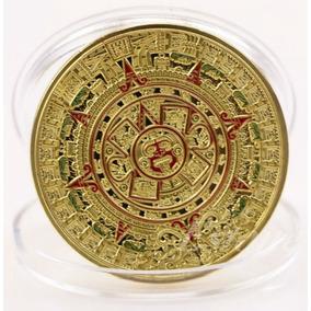 Moeda Banhada A Ouro Dourada Calendário Maia Asteca