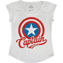 T Shirt Capitão América Feminina - Tecido Com Elastano