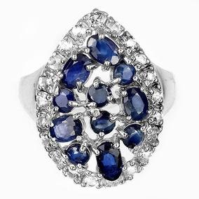 Anel Gota Em Prata 925 Com Safiras Azul Natural E Zirconias