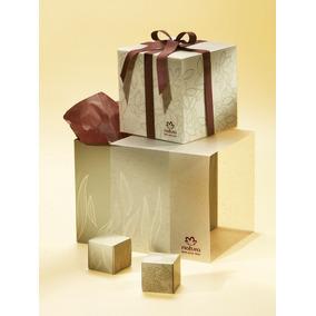 Caixa Pequena De Presente Cubo Recado E Fita Vinho Natura