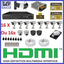 Kit Cftv 16 Cameras Infra Completo Cftv Dvr 16 Canais Hd 1tb