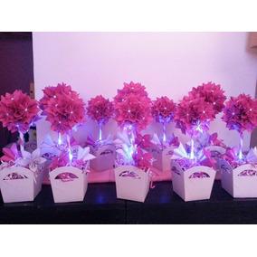 Topiarios Con Luz Flores Origami Centro De Mesa Artesanal