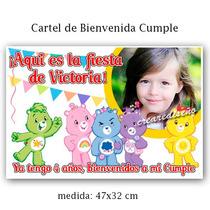 Cartel Cumpleaños Bienvenidos Con Tu Foto Ositos Cariñosos