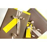Caixa Presente Envelope Cinza Amarela Fita E Cartão Natura