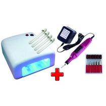 Kit Cabine Estufa Uv 36w + Lixa Lixadeira Elétrica Unha Gel