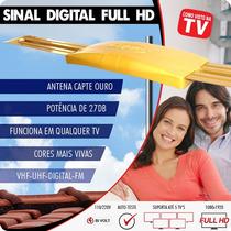 Antena Digital Amplificada 4x1 Vhf Uhf Hdtv Fm Capte Ouro