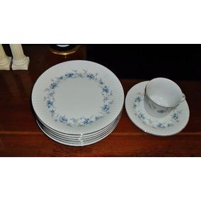 Platos De Postre Porcelana Tsuji 20 Cm. Bordes En Plata