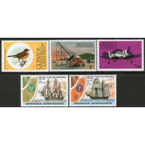 Granada Granadinas 5 Sellos Mint Barcos = Aves = Avión Piper