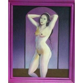 Bellísimo Desnudo Femenino Artístico, Oleo Sobre Tela