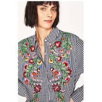 Camisa Zara A Cuadros Bordada