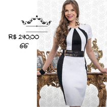 Vestido Cotton Satin - Cor: Preto/branco - Tam. Gg