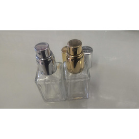 Frascos Vidro Perfume Cubo50ml Valvula Luxo Dourada Prateada