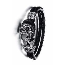 Bracelete Pulseira Masculina Couro Caveira Pedra Zircônia