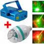 Projetor Laser + Lampada Led Giratoria Festas Efeitos Luz 3d