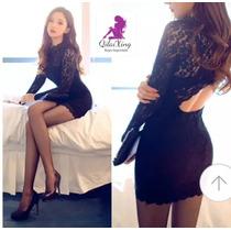 Vestido Importado Encaje Sensual Detalle Espalda Qilaixing
