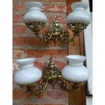 Luminaria Barroca De Bronze Com Opalina