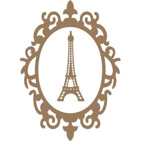 Moldura Com Aplique Torre Eiffel Mdf Cru Paris-15anos