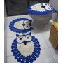 Jogo De Banheiro Crochê Coruja Azul