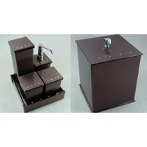 Kit Potes + Lixeira Em Acrílico Chocolate Strass Swarovski