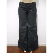Calça Jeans Flare Azul Com Brilho Prata Tam 38 Ótimo Estado