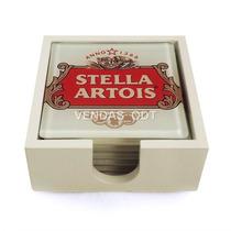 Conjunto Bolacha Porta-copos Em Vidro Stella Artois 06pç
