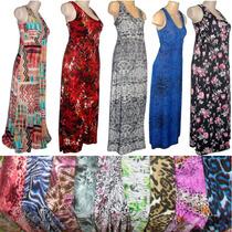 Lote 12 Vestidos Longos Estampados Busto Reforçado Liganete