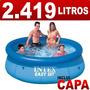 Piscina Inflável Easy Set 2419 Litros Intex + Capa Cobertura